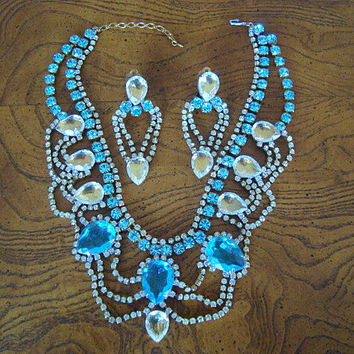 Vintage Signed Bijoux Mg Crystal Blue & Clear Demi Parure Necklace with Earrings