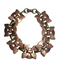 "Bracelet - Vintage Copper and Brass Deco Butterfly Link 20mm. Wide Chain 7.5"" Long"