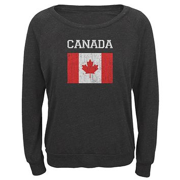 World Cup Distressed Flag Canada Juniors Long Sleeve Slouch Top