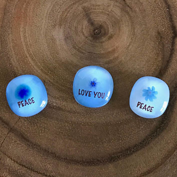 Peace and Love Bright Bits Glass Touchstones