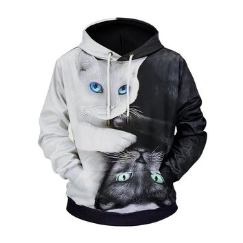 Hoodie Cat Black and white