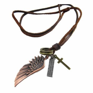 Men Wing Cross Leather Necklace