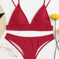 Adjustable Straps Bikini Set -SheIn(Sheinside)