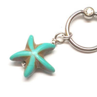 Turquoise Starfish Captive Belly Button Jewelry Belly Ring