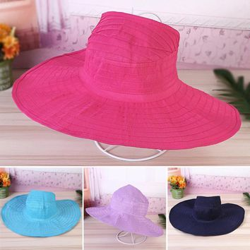 Women Girls Summer Outdoor All-match Solid Color Wide Large Brim Bucket Hat Foldable Sun Hat Beach Cap With Thread Gluing