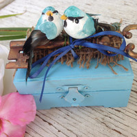 Ring Box, Wedding Box, Shabby Chic Ring Box, Bird Decor