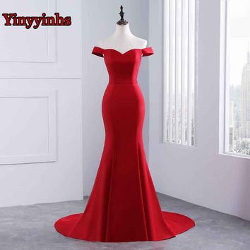 Yinyyinhs Robe De Soiree Mermaid Burgundry Long Evening Dress Party Elegant Vestido De Festa Long Prom Gown 2017 With Train