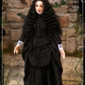 MISS JESSEL ooak Victorian gothic Ghost lady 1:12 dollhouse doll by Soraya Merino