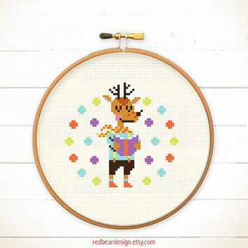 Modern Cross stitch pattern PDF - Deer Love Reading - Xstitch Instant download - READING POWER - Happy Heart Posh Deer Cute Love Animal Book