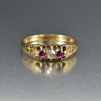 Edwardian 18K Gold Ruby and Diamond Trilogy Ring