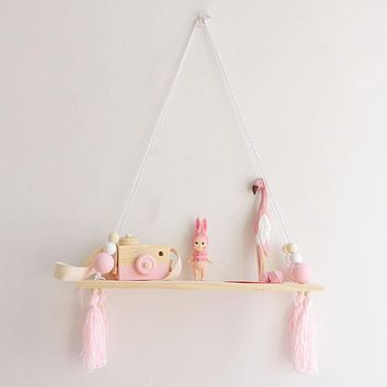 Wooden Shelf Pink Princess Style Toy Decoration Shelf Wall Pendant Wood Beads Tassel Photography Props Baby Room Ornaments