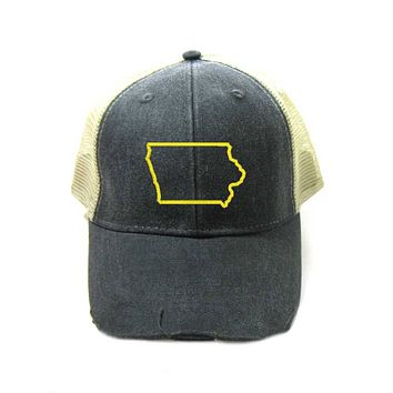 Iowa Hat - Distressed Snapback Trucker Hat - Iowa State Outline - Many Colors Available