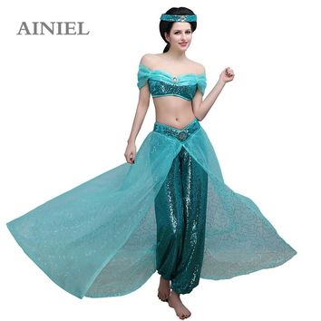 Adult Aladdin Princess Jasmine Cosplay Costume Female Sexy Dress Halloween Women and Girls Beautiful Ball Gowns Dress CS361321