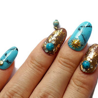 Turquoise nails, summer nails, turquoise stone nails, marble nails, granite nails, foil nails, nail foil, nail dangling, moon, sun, ethnic