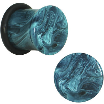 00 Gauge Teal Marble Swirl Acrylic Single Flare Plug Set