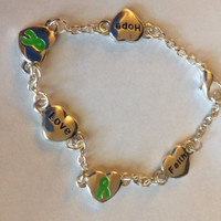 Words Love, Faith, and Hope Green Ribbon Silver Depression Awareness Bracelet