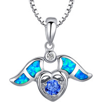 Sterling Silver Wing Heart Blue Green Fire Opal and Purple CZ Pendant Necklace