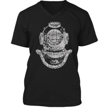 Big Texas Deep Sea Diver Helmet T-Shirt Mens Printed V-Neck T