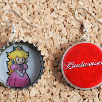 Princess Peach Bottle Cap Earrings - recycled handmade swag mario nintendo jewelry repurpose FREE shipping to USA