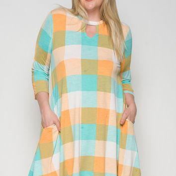 Checker Print Flare Dress with Keyhole Neckline and Pocket