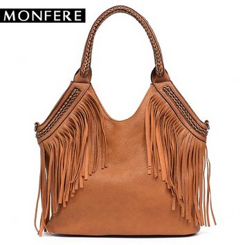 MONFERE Fashion Female Shoulder Bags Large Tassle Women Tote Bags Chain Handle Messenger Bag Vegan Leather Hobo Fringe Handbag
