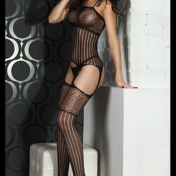 Foxy Suspender Style Lace Body Stockings (Color: Black) = 1932988420