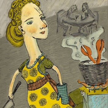 Illustration Art Print Kitchen Woman Cooking by RenaissanceDays