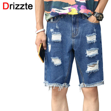 Ripped Men Shorts Blue Denim Distress Jeans Short for Men Jean