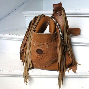 Milky brown leather fringe southwestern western festival bag boho possibles hobo tribal fringe bag festival agate stone in pocket