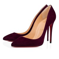 Pigalle Follies 100 Merlot Suede - Women Shoes - Christian Louboutin