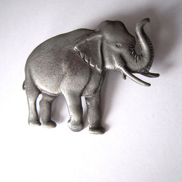 Britannia pewter elephant brooch pin, large pin, made in Canada, add to clothing, purses, a diorama, or mixed medium artwork, grey elephant.