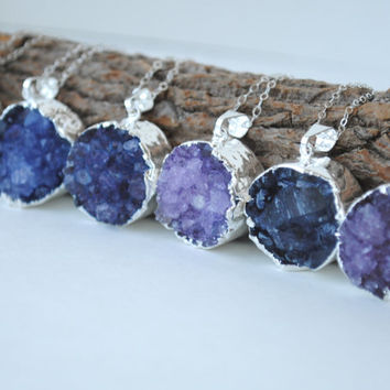 Silver Druzy Necklace, Purple Druzy Necklace, Blue Druzy Necklace