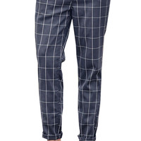 Plaid Pattern Print Casual Straight Cropped Pants For Men