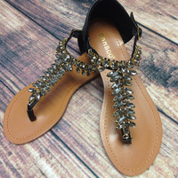 CRYSTAL TRAILS SANDALS IN BLACK