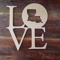 Wood Louisiana Love door/wall hanger