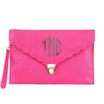 Monogrammed Scalloped Latch Clutch