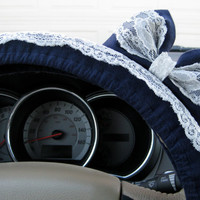 Navy Blue & Lace Steering Wheel Cover with Matching Bow