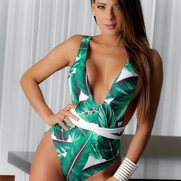 Tropical Print wrap up swimsuit