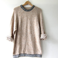 Vintage Peruvian sweater. Long shaggy sweater. Alpaca oatmeal pullover. bohemian hippie wool sweater.