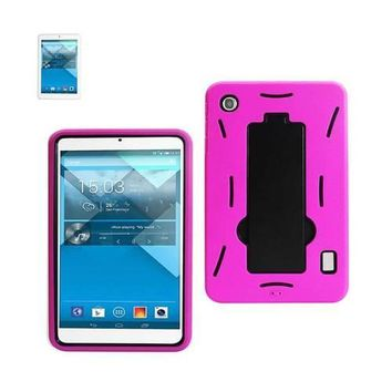 REIKO ALCATEL ONE TOUCH POP 7 HEAVY DUTY HYBRID NON SLIP CASE WITH KICKSTAND IN BLACK HOT PINK