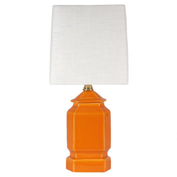 Small Orange Contemporary Porcelain Lamp