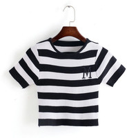 Embroidery T Shirts Women Black White Striped Knitted Shirt Short Sleeve Casual Summer Tops