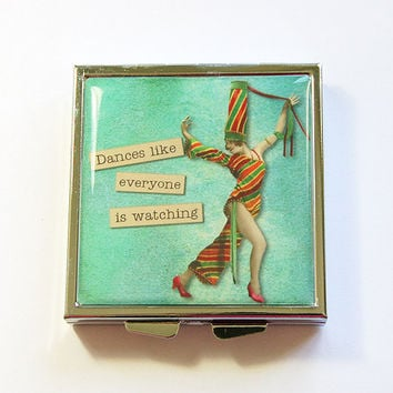 Pill Case, Pill Box, Funny pill box, Funny pill case, 4 Sections, Square Pill case, Square Pill box, humor, dance, green, retro (4336)