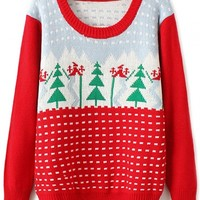Chic Christmas-Inspired Tree Print Sweater - OASAP.com