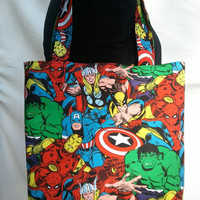Reversible Tote Purse Bag Made From Avengers Fabric - Thor, Spiderman, Wolverine, Hulk, Ironman, Captain America