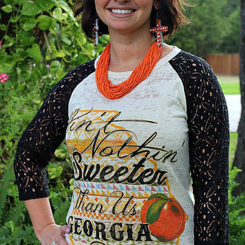 Ain't Nothing Sweeter Than Us Georgia Peaches Baseball Burnout Tee with Black Crochet Lace Sleeves
