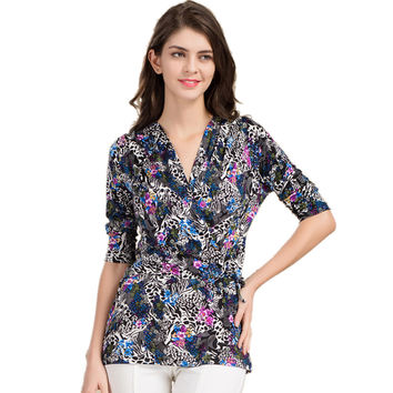100% Pure Silk Women's Blouses Femme Blouse Women Blusa Female Crossover V-neck Fashion Ladies Tee Shirts For Woman Tops