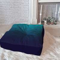 Leah Flores Sapphire Map Floor Pillow Square