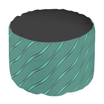 Teal Waves Pouf