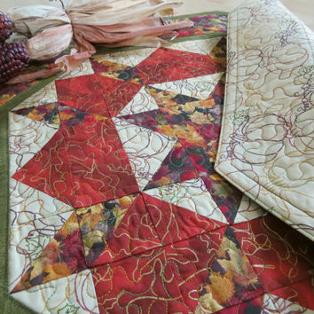 Quilted Table Topper, Autumn Leaves 210